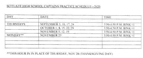 2020 captains practice schedule